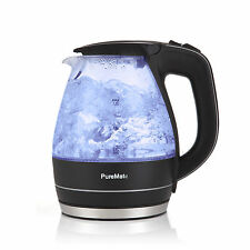 PureMate 1.5L Cordless Glass Electric Kettle with Blue LED Illumination - 2200W