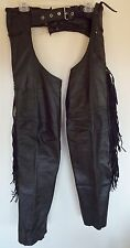 Unisex BARNEY'S Black Leather Motorcycle Riding Fringed Leg Chaps Pants Sz S