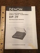 Denon DP-7F Turntable Original Owners Manual 7 Pages Dp7f Record Player