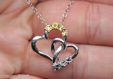New Zales Yellow & White Diamond Double heart Love Pendant Necklace SS Silver nr