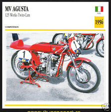 1956 MV Agusta 125cc Works Twin-Cam Italy Race Motorcycle Photo Spec Info Card