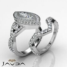Cross Shank Marquise Bridal Set Diamond Engagement Ring GIA F SI1 Platinum 3.8ct