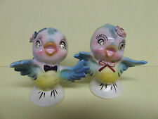 Vintage Lefton Blue Birds w/Flowers & Rhinestones Salt & Pepper (Japan/#6871)