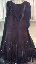 Native American Indian Leather Fringe Powow Dress Outfit Size Cow Buck