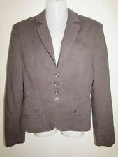 NEXT Ladies Brown Cotton & Wool Blend Smart Tailored Jacket Blazer Size 12 VGC