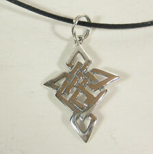 Celtic Cross Pendant Necklace .925 Sterling Silver Black Cord USA Made Christian