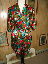 Vintage Bold Color Tropical Print Silky Satin Robe by Kathryn Small