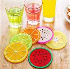 6pcs Fruit Coaster Colorful Silicone Cup Drinks Tableware Placemat Fashion HME