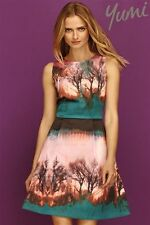 **NEW Yumi Woodland Brown Trees Blue Teal Green Forest Dress S 10 white asos