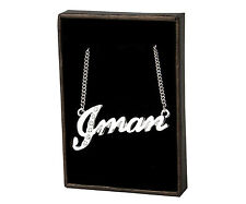 """Name Necklace """"IMAN"""" - 18ct White Gold Plated - Swarovski Elements - Custom Made"""