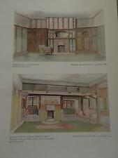 Arts & Crafts 1907 Architectural Architecture print BEDROOM by JS HENRY Ltd