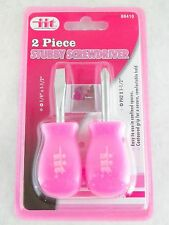 IIT 2 pc Pink Ladies Stubby Screwdriver Set Flat Head Phillips Mini Tools 88410