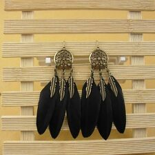 Long Vintage Dream Catcher Ear Drop Bohemian Style Feather Earring