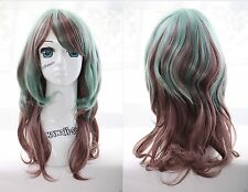 W-24 braun grün brown green mix 53cm Locken Harajuku Lolita COSPLAY Perücke WIG