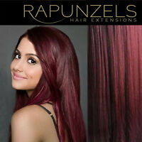 "Burgundy red hair weave weft. Human remy hair extensions 16"", 20"", 24"" lengths"