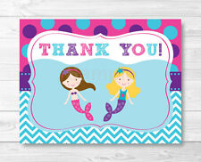 Mermaid Birthday Pool Party Thank You Card Printable