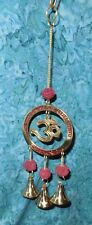 "Om Wall Hanging NEW Brass & Rudraksha Bead 3 bells Wind chime 10""L Sacred symbol"
