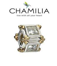 Genuine CHAMILIA 925 sterling silver & 14k gold SQUARE WITH DOTS charm RRP £110
