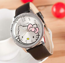 Kids Girls Hello Kitty Black Wrist Watch Analog Leather Strap Steel Back