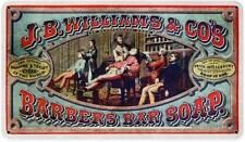 Vintage JB Williams Co. Barber Shop Bar Soap Advertising Metal Sign Bathroom 011