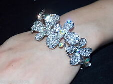 BEAUTIFUL WEDDING BRIDAL BUTTERFLY DESIGN CLEAR & AB CRYSTAL BRACELET BANGLE