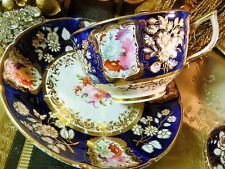 COALPORT   TEA  CUP AND SAUCER TRIO NEW EMBOSSED SHAPE HP FLOWERS LUSH GILT 1818