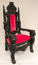 MINI Lion Throne Chair - 3 Feet Tall Child or Doll Size - Black finish / Pink