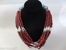 Moroccan african Berber  artisan Enameled beads necklace