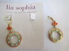 lia sophia ALICANTE earring-gold matte hoop drop dangle
