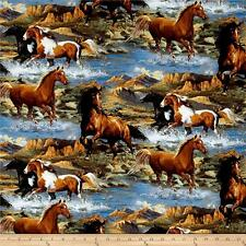 """Wild Wings Rhapsody West Scenic Horses 100% cotton 43"""" Fabric x 69 inches"""