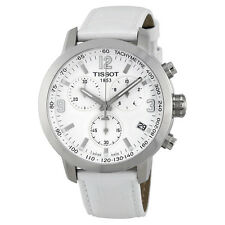 Tissot PRC 200 Chronograph White Dial White Leather Steel Mens Watch