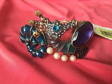 Betsey Johnson Into The Blue Jelly Belly Crystal Seahorse Bracelet Bangle Cuff