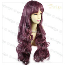 Dazzling Long Curly Wavy Dark Purple Lady Wig Cosplay Party Hair from WIWIGS UK