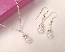 STERLING SILVER PEARL AND DIAMANTE BRIDAL JEWELLERY SET CLASSIC HANDMADE DESIGN