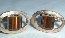 VINTAGE DANTE ETCHED OVAL GOLDTONE BROWN AGATE CUFFLINKS IN GIFT BOX