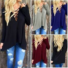 UK Women V Neck Lace-up Tie Plunge Loose Casual Hooded Top Shirt Blouse Pullover