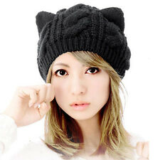 Casual Black Girl's Cat Ears Hemp Flowers Knitted Hat Winter Warm Cap For Lady