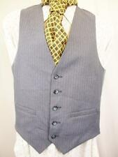 S 36R - Vintage 70's Mens Blue Striped Smart Waistcoat Suit Vest Mod Folk - U487
