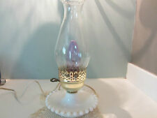 """VINTAGE 12"""" HURRICANE STYLE WHITE MILK GLASS HOBNAIL ELECTRIC TABLE LAMP"""