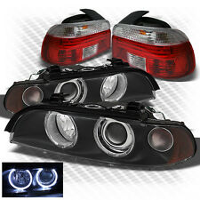 For 97-00 E39 5-Series G2 Black Halo Projector Headlights + R/C Tail Lights
