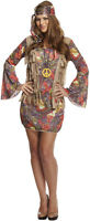 Womens GROOVY HIPPIE  Dress Fancy Dress 60s 70s Party Lady Hen Night Costume