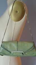 TODS Green Textured Leather Pochette Clutch w/ Silver Chain & Crystals $795