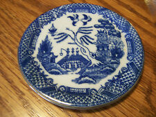 """Miniature Blue Willow Design Dollhouse Plate - Gold Trimmed - 3 1/2"""""""