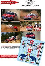 Decals 1/43 réf 1002 Citroen Xsara WRC  DUVAL 1 er AUSTRALIE 2005