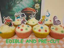 Alice in wonderland X24 edible stand up cup cake toppers wafer paper *pre-cut*