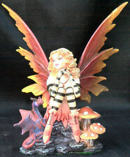 Fairy Amber Autumn Pixie Nymph Figurine Statue Dragon