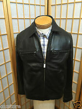 Wilsons Leather Heavy  Black Leather Riding Motorcycle Jacket Coat Wilson Size S