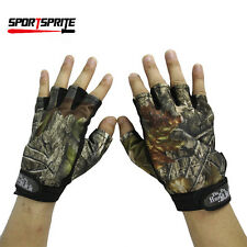 Outdoor Fishing Camouflage Anti-slip Gloves Half Fingers Waterproof Gloves Camo
