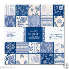 "Papermania 6x6"" scrapbooking paper Parisienne blue 32 sheet in 16 designs 160gsm"