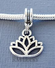 Lotus Flower Charm Bead Pendant. Fits European charm Bracelet or necklace C224